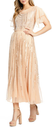 Mac Duggal Butterfly Sleeve Embellished Chiffon Midi Dress