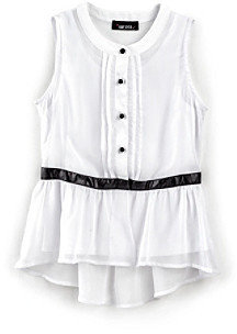 Amy Byer Girls' 7-16 White Sleeveless Top with Pleather Accent