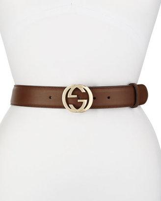 Gucci Wide Adjustable GG-Buckle Belt, Nut Brown $375 thestylecure.com