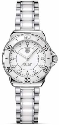 Tag Heuer Formula 1 Stainless Steel and White Ceramic Watch With Diamonds, 32mm