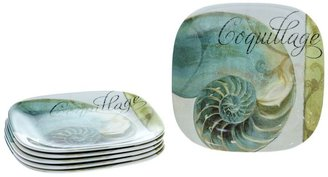 La Mer Certified international by color bakery 6-pc. square melamine salad plate set