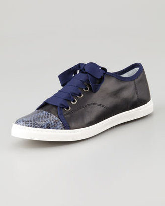 Lanvin Snake-Cap-Toe Leather Sneaker, Blue/Black