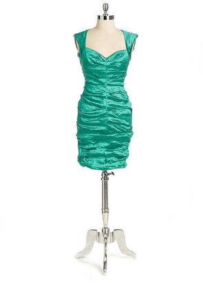 Nicole Miller Metallic Ruched Cocktail Dress