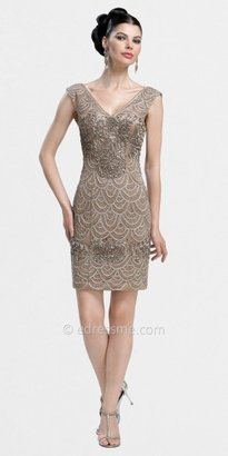 Sue Wong Cap Sleeved Sheath Cocktail Dresses