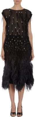 Dries Van Noten Feathered and Jeweled Georgette Tunic