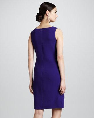 Oscar de la Renta Pocketed Wool Crepe Shift Dress, Violet