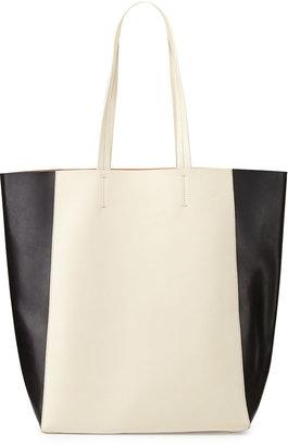 Neiman Marcus North-South Colorblock Tote Bag, Black/White