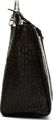 3.1 Phillip Lim Black Croc-Embossed Ryder Satchel