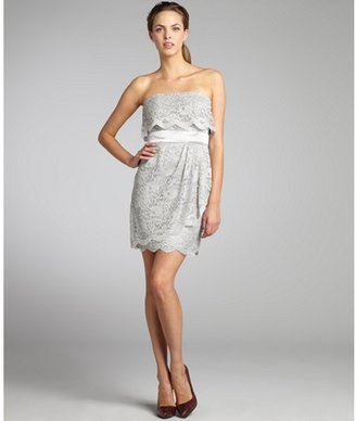 Laundry by Design steel woven lace ruffle strapless dress