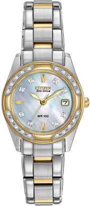 Citizen Eco-Drive Regent Womens Diamond-Accent Mother-of-Pearl Bracelet Watch EW1824-57D