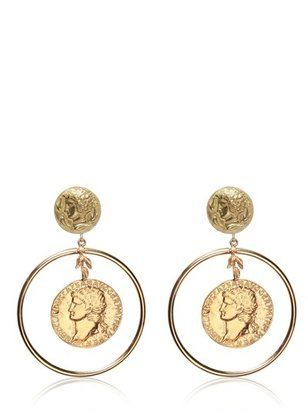 Dolce & Gabbana Gold Plated Coin Pendant Earrings
