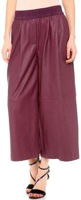 Thakoon Leather Wide Leg Culotte Pants
