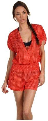 Juicy Couture Pretty Polka Cover Up Romper (Tomato Multi) - Apparel