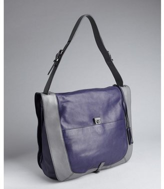 Kooba cobalt and pewter leather squared 'Rory' hobo bag