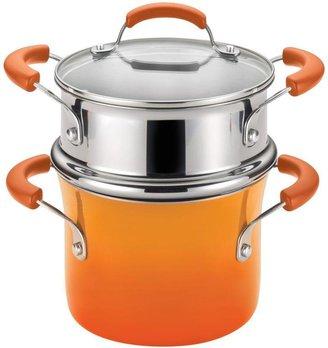 Rachael Ray Hard Enamel Nonstick 3 qt. Covered Steamer Set in Orange Gradient