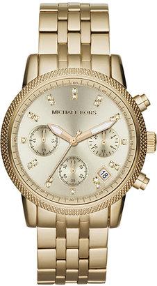 Michael Kors Women's Chronograph Ritz Gold-Tone Stainless Steel Bracelet Watch 36mm MK5676