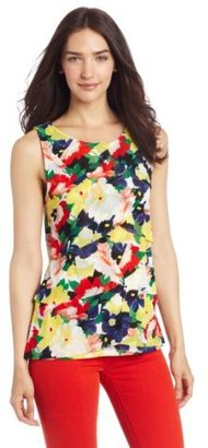 Chaus Women's Sleeveless Tiered Vintage Floral Top