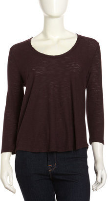 James Perse Soft V-Neck Tee, Eggplant