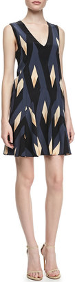 Marc by Marc Jacobs Diamond/Flame-Print A-Line Dress
