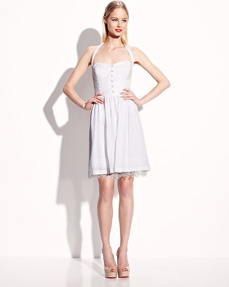 Betsey Johnson Solid Sweetheart Neck Dress