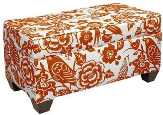 Skyline Furniture Upholstered Flip top Storage Bench Color/Pattern: Tangerine/ Floral