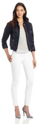 Charlotte Ronson Women's Leather Varsity Jacket