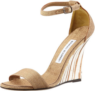 Manolo Blahnik Izione Ankle-Strap Wedge Sandal