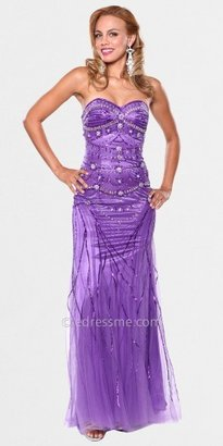 Atria Sparkle and Shine Tulle Hem Sweetheart Necked Prom Gowns