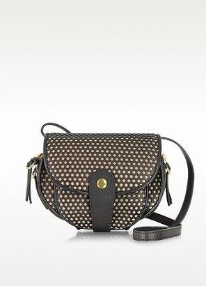 Jerome Dreyfuss Momo Noir and Nude Perforated Leather Shoulder Bag