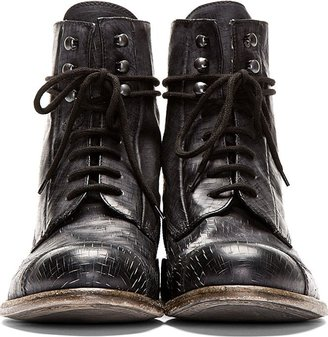 Diesel Black Gold Black Leather Cracked Danny-Bo Boots