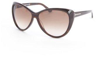 Tom Ford brown acrylic 'Malin' oversized sunglasses