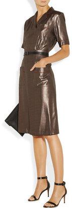 Marc Jacobs Houndstooth silk-blend lamé shirt dress