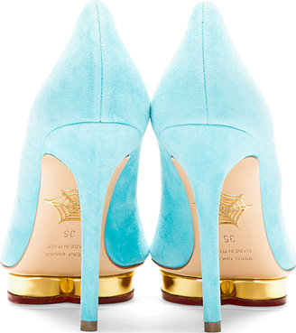 Charlotte Olympia Turquoise Suede Pointed Debbie Pumps