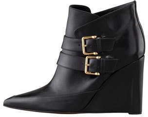 Derek Lam Marta Buckled Wedge Bootie, Black