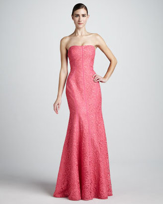 Monique Lhuillier Strapless Trumpet Gown