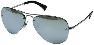 Ray-Ban RB3449 (Silver/Green Mirror Silver) Metal Frame Fashion Sunglasses