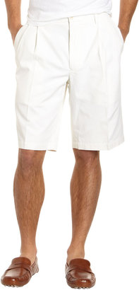 Nat Nast Pleated Front Silk-Blend Shorts, White