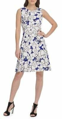 DKNY Floral Scuba Crepe Sleeveless Fit Flare Dress