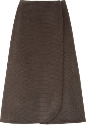 Yves Saint Laurent Python-effect wool wrap skirt