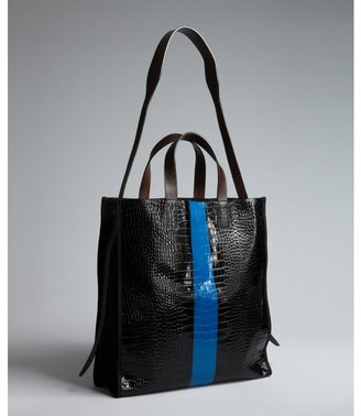 Dries Van Noten black and blue croc embossed patant leather tote bag