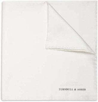 Turnbull & Asser Silk Pocket Square - White