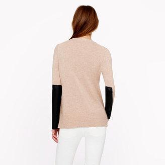 J.Crew Leather panel V-neck sweater