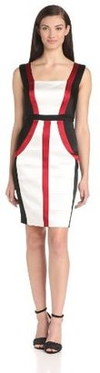 Jax Women's Sleeveless Color Block Banded Dress