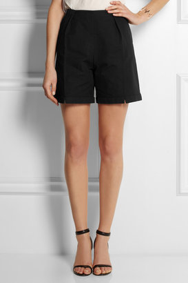 Kenzo High-rise cotton and linen-blend shorts