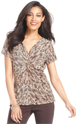 Charter Club Top, Short-Sleeve Printed Ruched Twist-Front