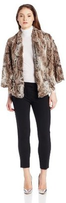 True Grit Dylan by Women's Silky Texture Fur Outerwear Coat With Satin Trim