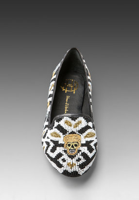 House Of Harlow Zenith Beaded Flat in Black/White