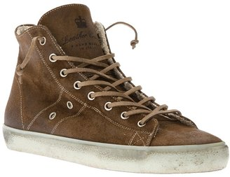 Leather Crown high-top trainer