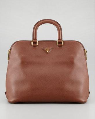 Prada Saffiano Cuir Brevetto Satchel Bag, Brown