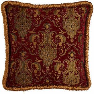 Austin Horn Collection Scarlet European Sham with Shirred Gold Welt